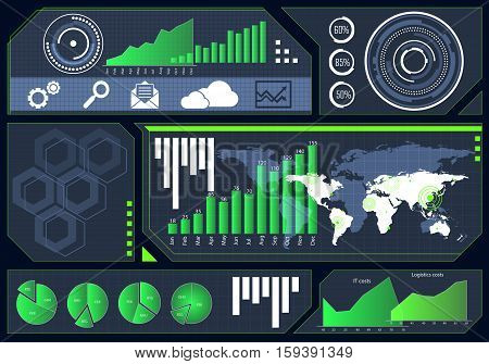 Background image with futuristic user interface HUD