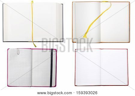 set of open blank books isolated on white