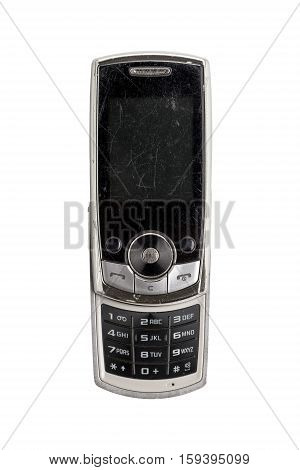 Very Old Scratched Mobile Phone, Isolated On White