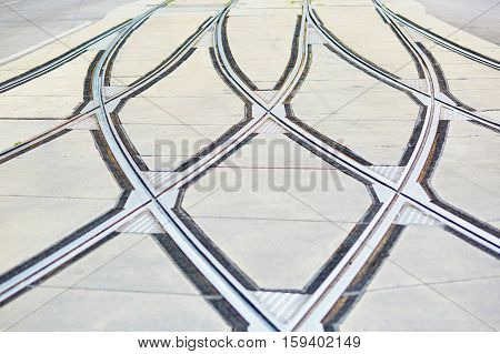 Closeup Of Tram Rails In Vienna, Austria