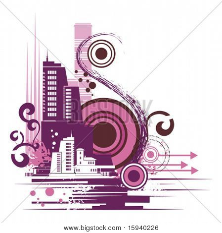 Urban buildings background series, vector illustration with grunge, arrow, swirl and circle details.