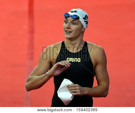 Hong Kong China - Oct 29 2016. Olympic world and European champion World record holder swimmer Katinka HOSSZU (HUN) after the Women's Butterfly 100m Final. FINA Swimming World Cup Finals.