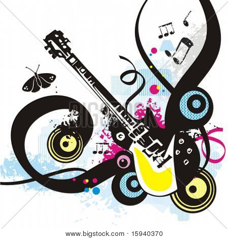 Music instrument background series, vector illustration of an electric guitar with grunge details.