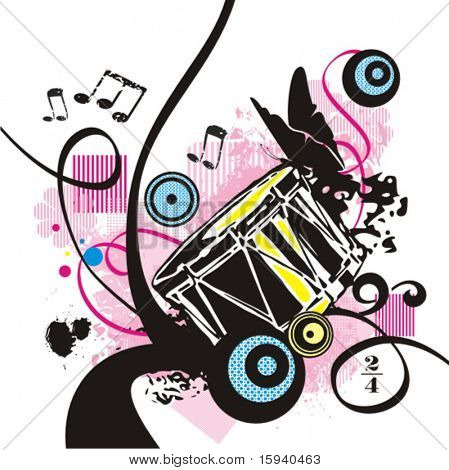 Music instrument background series, vector illustration with grunge details.