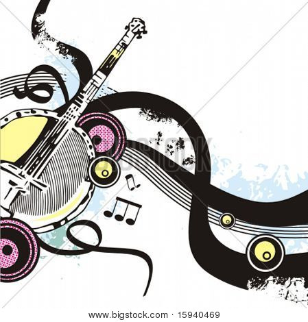 Music instrument background series, vector illustration of a banjo with grunge details.