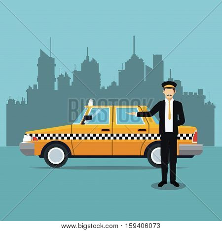 cab car driver uniform service public vector illustration eps 10
