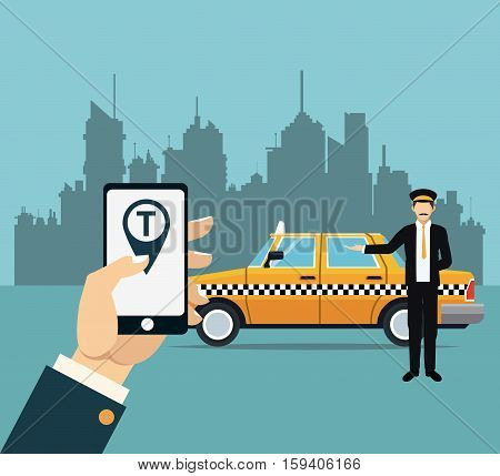 driver taxi service online app city background vector illustration eps 10