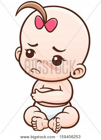 Vector Illustration of Cartoon Angry Baby charcter