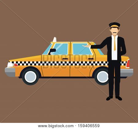 cab car driver work service public vector illustration eps 10
