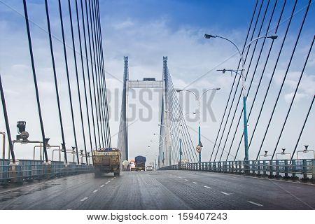 Vidyasagar Setu (Bridge) over river Ganges known as 2nd Hooghly Bridge in KolkataWest BengalIndia. Connects Howrah and Kolkata two big cities of West Bengal. Longest Cable - stayed bridge in India.