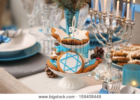 Beautiful table setting for Hanukkah, closeup