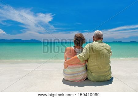 Happy senior caucasian couple sitting near the sea and hugging. Rear view.