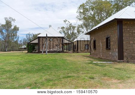 stationmaster residence and kitchen and telegraph office buildings at historic telegraph station in alice springs of northern territory australia