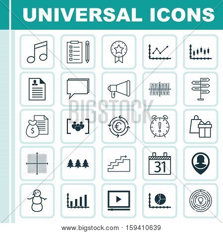 Set Of 25 Universal Editable Icons. Can Be Used For Web, Mobile And App Design. Includes Icons Such As Dynamics, Holiday Ornament, Stock Market And More.