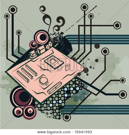 Computer related abstract background series. Vector illustration with a mainboard, and circuit and grunge details.