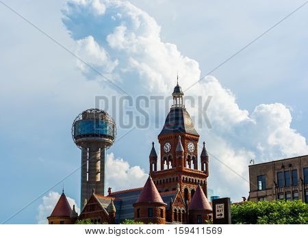 Buildings in the Dallas Skyline. Historical architecture with a cloudy sky.