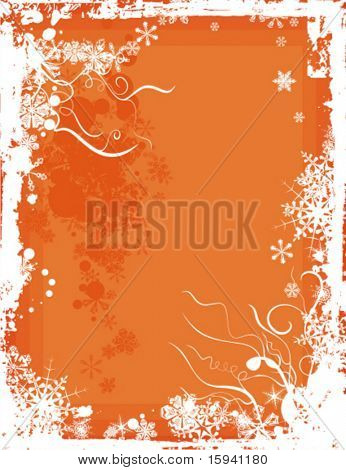 Grunge winter background in orange colors, vector illustration.