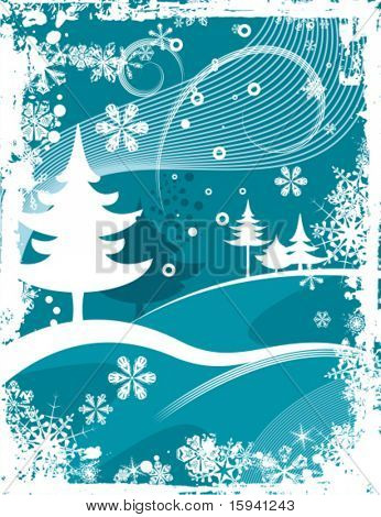 Abstract winter grunge background with pine trees, vector illustration series.