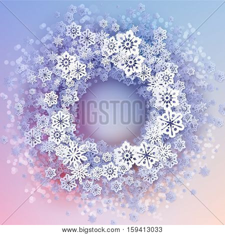 Round snow frame with place for text. Winter frame made of snowflakes of various size. Circle shape. New Year, Christmas blue and purple abstract background.