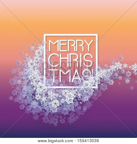 Snow frame with Merry Christmas text.. Winter frame made with snowflakes of various size. New Year, Christmas yellow and purple abstract vector background.