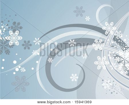 Abstract winter background series with snowflakes and waves, vector illustration.