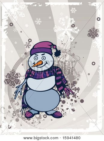 Fondo de vacaciones de invierno con un muñeco de nieve, Ilustración del vector.