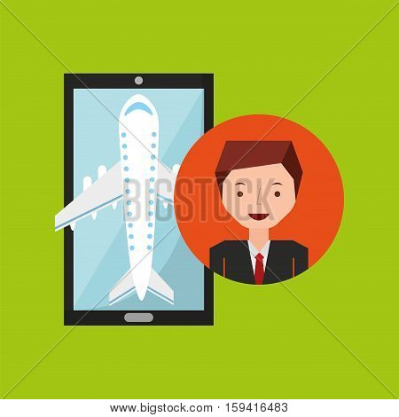 businessman hand holds mobile application travel airport vector illustration eps 10