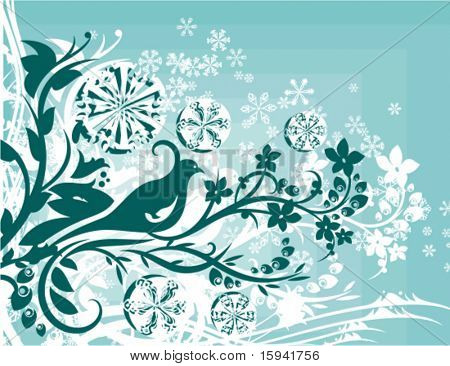 Abstract winter grunge background with floral ornamental details and snowflakes, vector illustration series.
