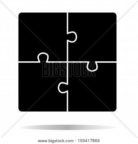 Puzzle vector icon. Creative group symbol. Cooperation.