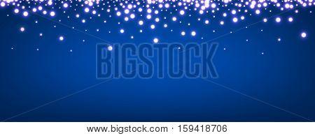 Abstract Christmas blue luminous banner. Vector illustration.