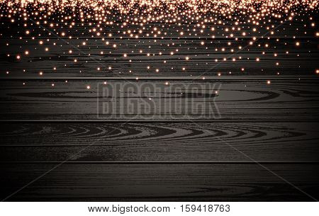 Wooden Christmas luminous background. Vector illustration.