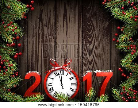 2017 Year wooden background with clock and fir branches. Vector illustration.