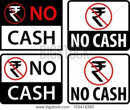 No Cash Rupee Label Vector Illustration