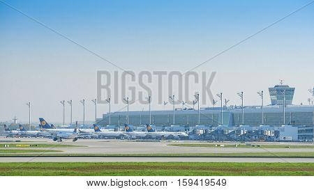 Munich Germany - May 6 2016: The new modern Lufthansa satellite terminal at Munich airport in operation since April 2016 is Germany's first midfield international passenger terminal.
