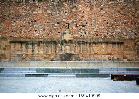 Caceres Plaza Mayor square in Extremadura of Spain