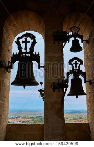 Concatedral de Santamaria Belfry bell Caceres in Extremadura at spain