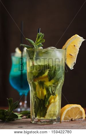 Mojito Cocktail On Gritty Vintage Background.