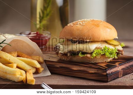 Classic Burger With Beef And French Fries