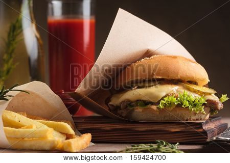 Classic Burger With Beef And French