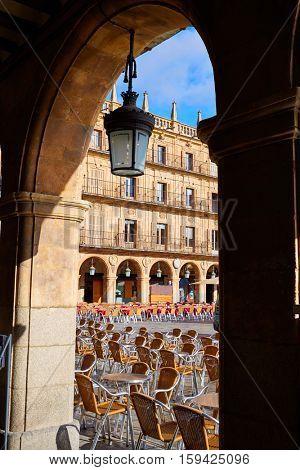Salamanca Plaza Mayor in Spain along via de la Plata way to Santiago exterior image shot from public floor