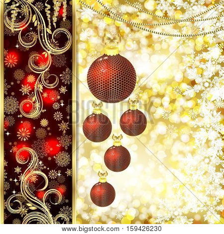 Vector Christmas card with Christmas decor, snowflakes on golden and red background.