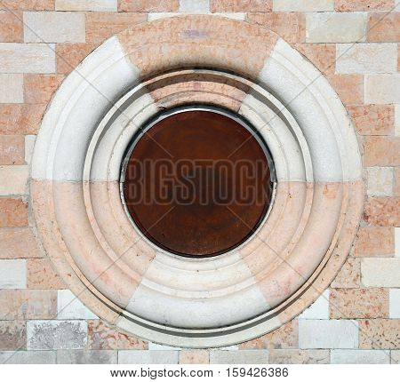 Stone And Marble Circle On Historic Building In Italy