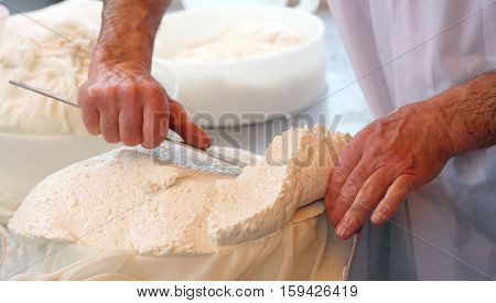 With A Sharp Knife A Skilled Cheesemaker Cuts The Cheese