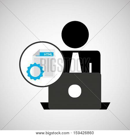 silhouette programmer working laptop language gear vector illustration eps 10