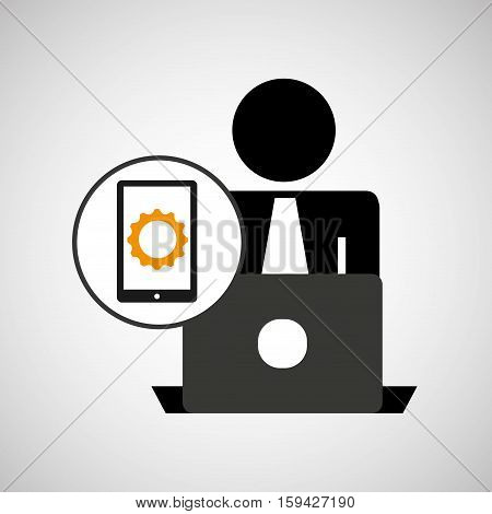 silhouette programmer working laptop cellphone gear vector illustration eps 10