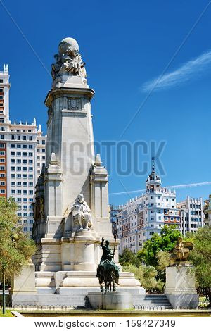 The Cervantes Monument On The Square Of Spain (plaza De Espana) In Madrid On The Blue Sky Background