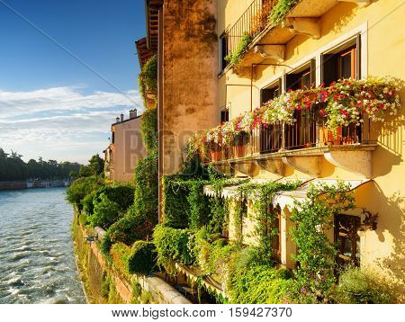 Facades Of Old Houses On Waterfront Of The Adige River, Verona