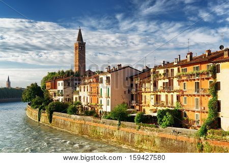 Facades Of Houses On Waterfront Of The Adige River In Verona