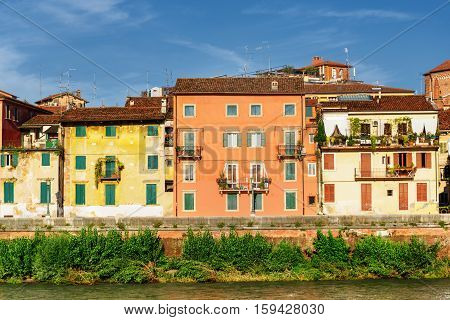 Houses On Waterfront Of Adige River At Historic Centre Of Verona