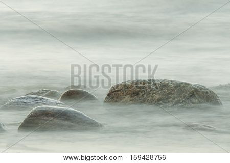 long exposure of sea and large stones